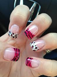 love my nails zebra and cheetah print nail art french tip