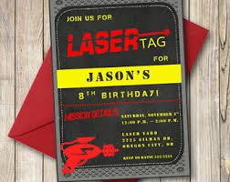 laser tag invitation etsy