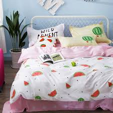 Duvet 100 Cotton Aliexpress Com Buy Pink Stars Bed Sheets Fruit Pattern Duvet