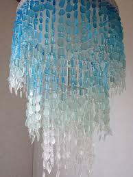Teal Glass Chandelier Sea Glass Chandelier Lighting Fixture Flush Mount Ceiling