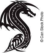 clipart vector of flying dragon tattoo vintage engraving