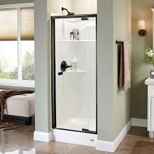 pivot glass door delta mandara 31 in x 66 in semi frameless pivot shower door in