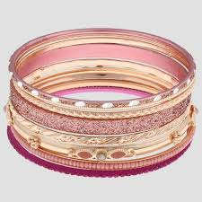 gold bracelet set images Girls 39 9pc glitter textured metal bangles bracelet set cat