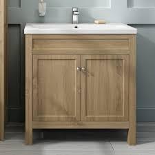 Floor Standing Bathroom Cabinets by 800mm Melbourne Oak Effect Double Door Floor Standing Vanity Unit