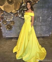 2017 yellow prom dress vestido de festa satin floor length off