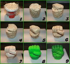 how to make a hulk hand from rice krispies step by step the