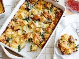 egg strata casserole spinach mushroom and cheese breakfast casserole recipe