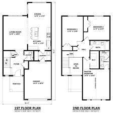 modern floor plan first and second two story house plans 3 car
