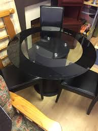black glass kitchen table round black glass dining table three chairs in sunderland tyne