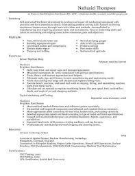 machinist resume samples machinist resume
