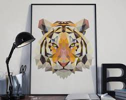 home interior tiger picture tiger silhouette etsy