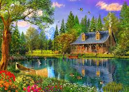 Beautiful Cottage Lakes Spring Cottage Flowers Deers Lake Water Trees Boat