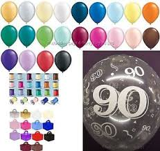 birthday helium balloons any colour 90th birthday party helium balloons ribbons weights