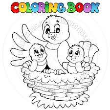 coloring pages cartoon coloring book birds in nest by clairev