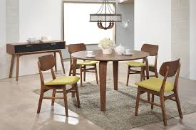 dining room vintage dining table and chair with 4 motif fabric dining table and chair with rounded wooden table and wooden chairs with green fabric seats