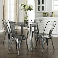 Galvanized Bistro Chair Crosley Furniture Amelia Five Metal Cafe Dining Set In