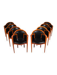 Black Leather Armchairs Roche Bobois Mid Century Modern Wood And Black Leather Armchairs