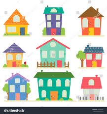 cute little house home sweet home stock vector 427899481