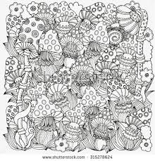 pattern for coloring book in vector fantasy fairy mushrooms in