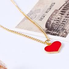 heart necklace red images Red heart pendant necklace gold chain os from jan 39 s closet on jpg