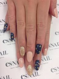 nail designs nail art the little gold crosses on the navy blue