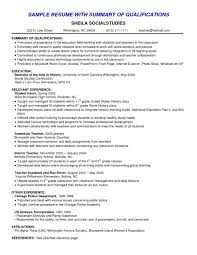 Education Qualification Format In Resume Example Of Qualification In Resume Samples Of Resumes