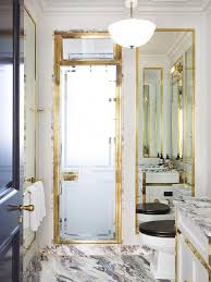 Gold Shower Doors Frosted Glass Shower With Gold Frame Contemporary Bathroom