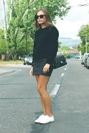 superga white summer style womenswear leather skirt black