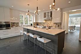 Designer Kitchen Stools Contemporary Kitchen With Chandelier High Ceiling In