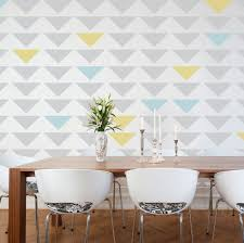 Accent Wall Patterns by Geometric Triangle Wall Stencil