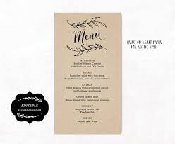 printable wedding menu template kraft wedding menu simple and