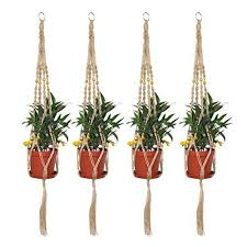 Wall Hanging Planters by Ljy 4 Pieces 2 9ft Macrame Plant Hangers Bracket Wall Hanging