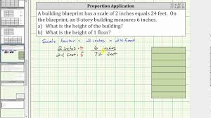 determine the height of a building using a scale factor