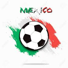 Mexico Flag Symbol Soccer Ball On The Background Of The Mexico Flag In Grunge Style