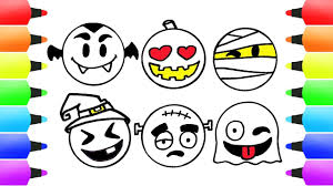 draw emoticons ghost witch vampire u0026 spooky coloring book pages