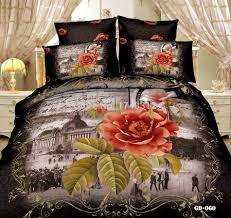 Black Floral Bedding Aliexpress Com Buy New Arrival Beautiful Orange Flower 7 Pcs