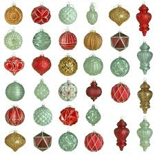 martha stewart living winter tidings glass ornament set 50 count
