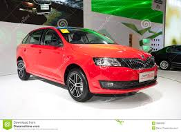 volkswagen red car red volkswagen skoda rapid space back car editorial photography