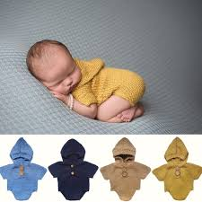 baby boy photo props newborn photo prop hooded romper knitted baby photography