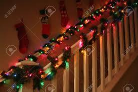 Christmas Banisters Christmas Garland Decorations Christmas Lights Decoration