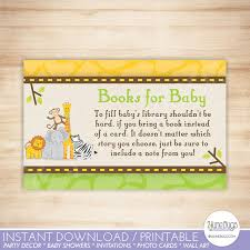 Baby Shower Instead Of A Card Bring A Book Safari Baby Shower Book Request Cards Bring A Book Instead Of