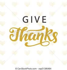 vector of give thanks thanksgiving day lettering for greeting