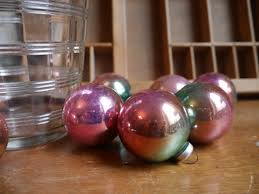 vintage ombre ornaments pink gold teal balls by zelda110