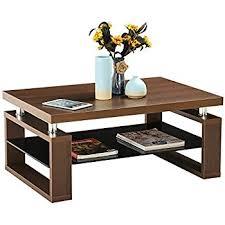 Wooden Coffee Table Yaheetech Living Room Rectangular Wood Top Coffee