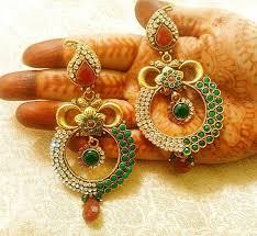 danglers earrings design buy royal designer maroon green copper zircon danglers earrings