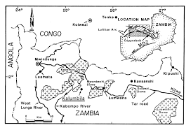 Map Of Zambia A Metamorphosed Proterozoic Carbonaceous Shale Hosted Co Ni Cu
