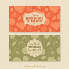 beautiful vintage banners with thanksgiving sketches vector free