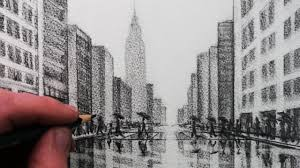 how to draw a city tonal pencil drawing youtube