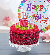 birthday wishes flower cake purple 1800flowers 148668