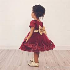 Children Christmas Dress Baby Girl Big Bownot Sequined Lace Flower